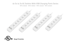 US outlet power strip with 3 USB charge port